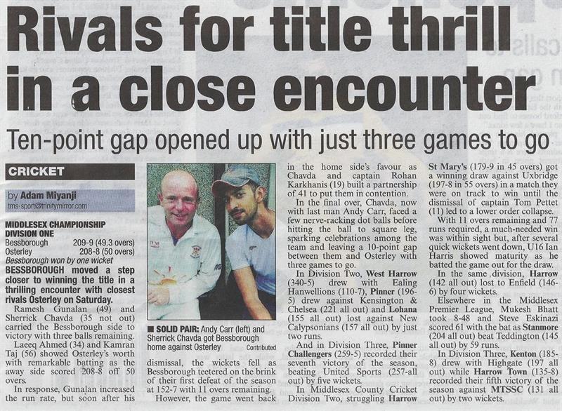 Bessborough Cricket Club Officials