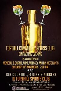 Gin Tasting Evening - Saturday 11th November at Forthill