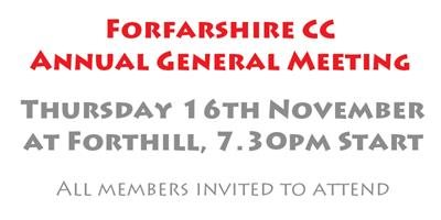 AGM - Thursday 16th November at 7.30pm