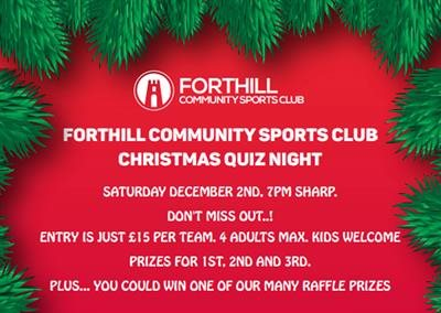 Forthill Christmas Quiz - Saturday 2nd December at 7pm