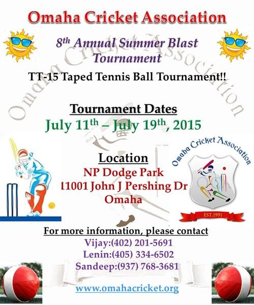 Invitation For Corporate Cricket Tournament: 2015 OCA 8th Annual TT15 Summer Blast Tournament