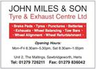John Miles Tyre and Exhaust