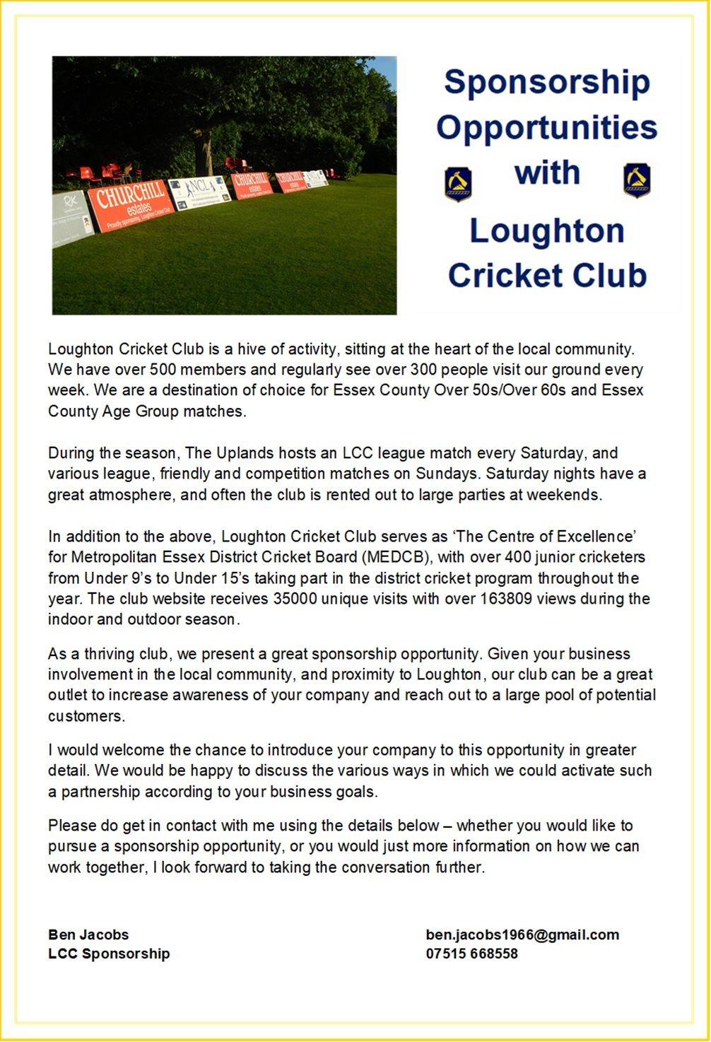 Loughton Cricket Club : SPONSORSHIP
