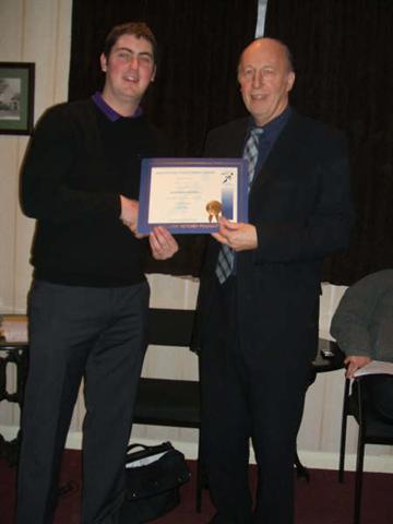 Jan 2009: Terry Preston receives his Achievement Award from President Tony Sanderson.