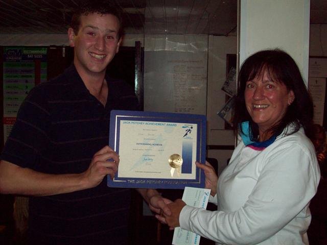 Sept 2008: Matthew Barrett receives his Achievement Award from Jack Petchey scheme coordinator Liz Brades.