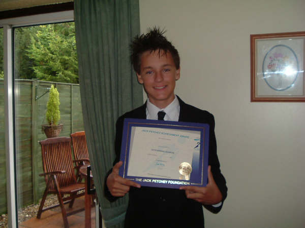 Dec 2007: Andrew Hendley with his Achievement Award.