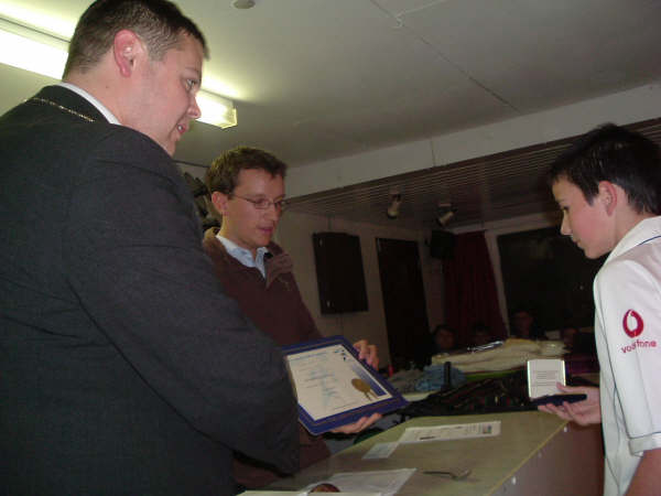 Sept 2007: Brad Sheridan receives the club's first ever Achievement Award from Epping Mayor Ben Murphy and colts manager Dan Sly.