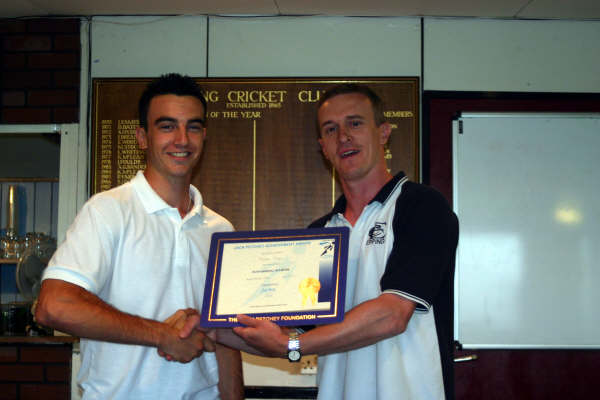 March 2008: Jacob Ellis receives his Achievement Award from chairman Geoff Maynard.